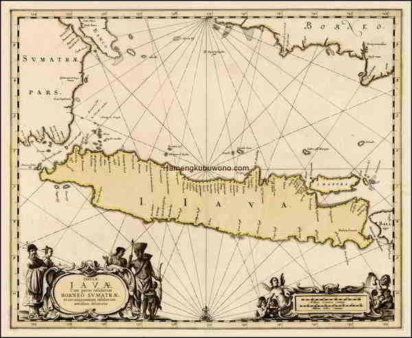 """Peta Pulau Jawa Kuno """"versi modern pertama"""" - Insulae Iavae cum Parte Insularum Borneo Sumatrae, et circumjacentium insularum novissima delineatio Karya  Jan Jansson 1650"""