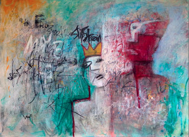 neo expressionism abstract urban style painting with two faces a crown scribble words