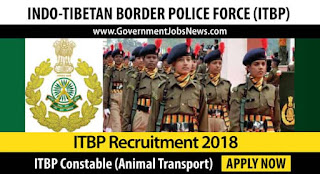 ITBP Recruitment 2018 Constable (Animal Transport) – Apply Online Form