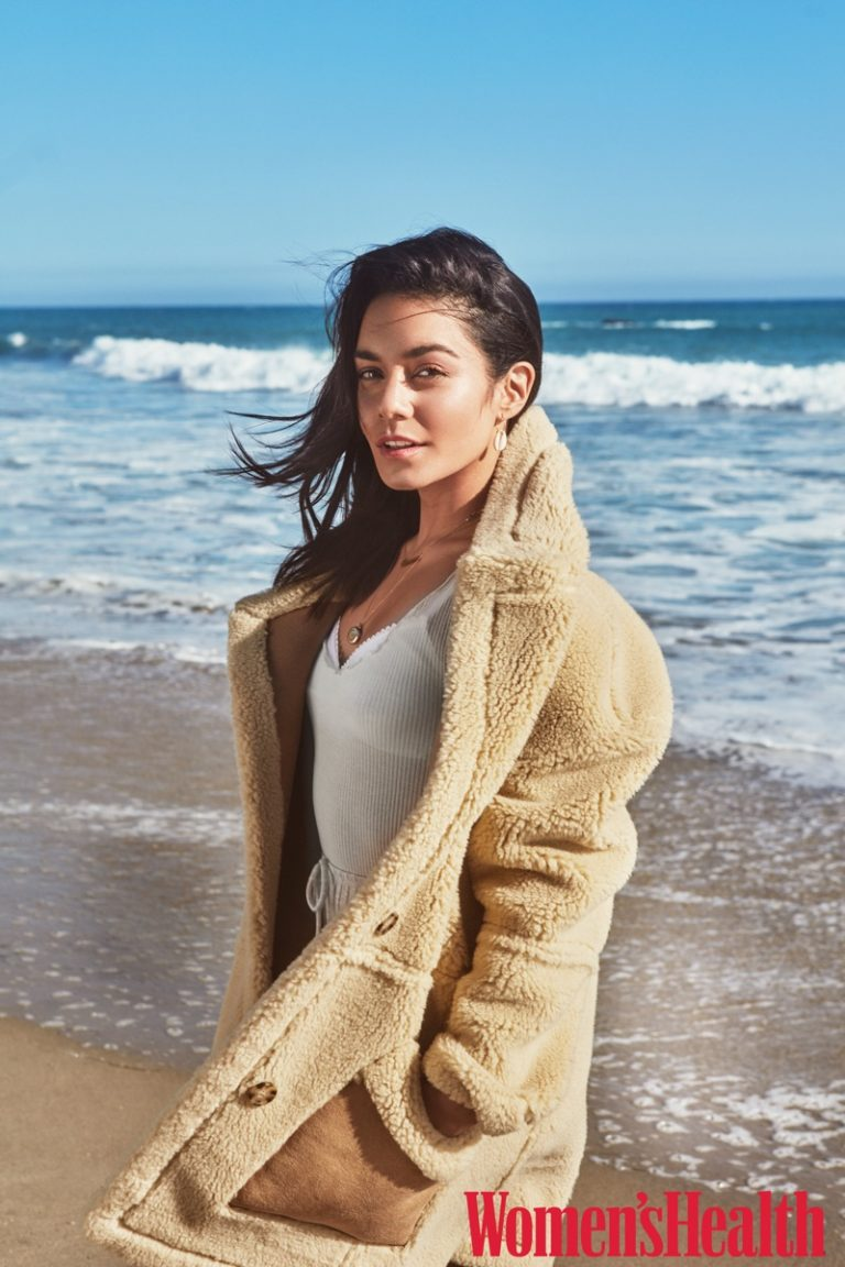 Vanessa Hudgens wears Abercrombie & Fitch coat, Araks tank and bra with Lulus shorts