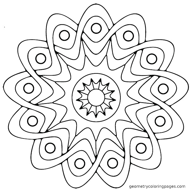 Mandala Coloring Sheets Easy With Ddadceffbadd Simple  Geometric Mandala