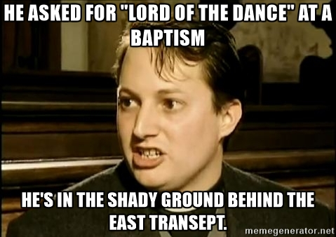 He's in the shady ground behind the East Transept.