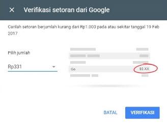 verifikasi setoran percobaan google adsense idr