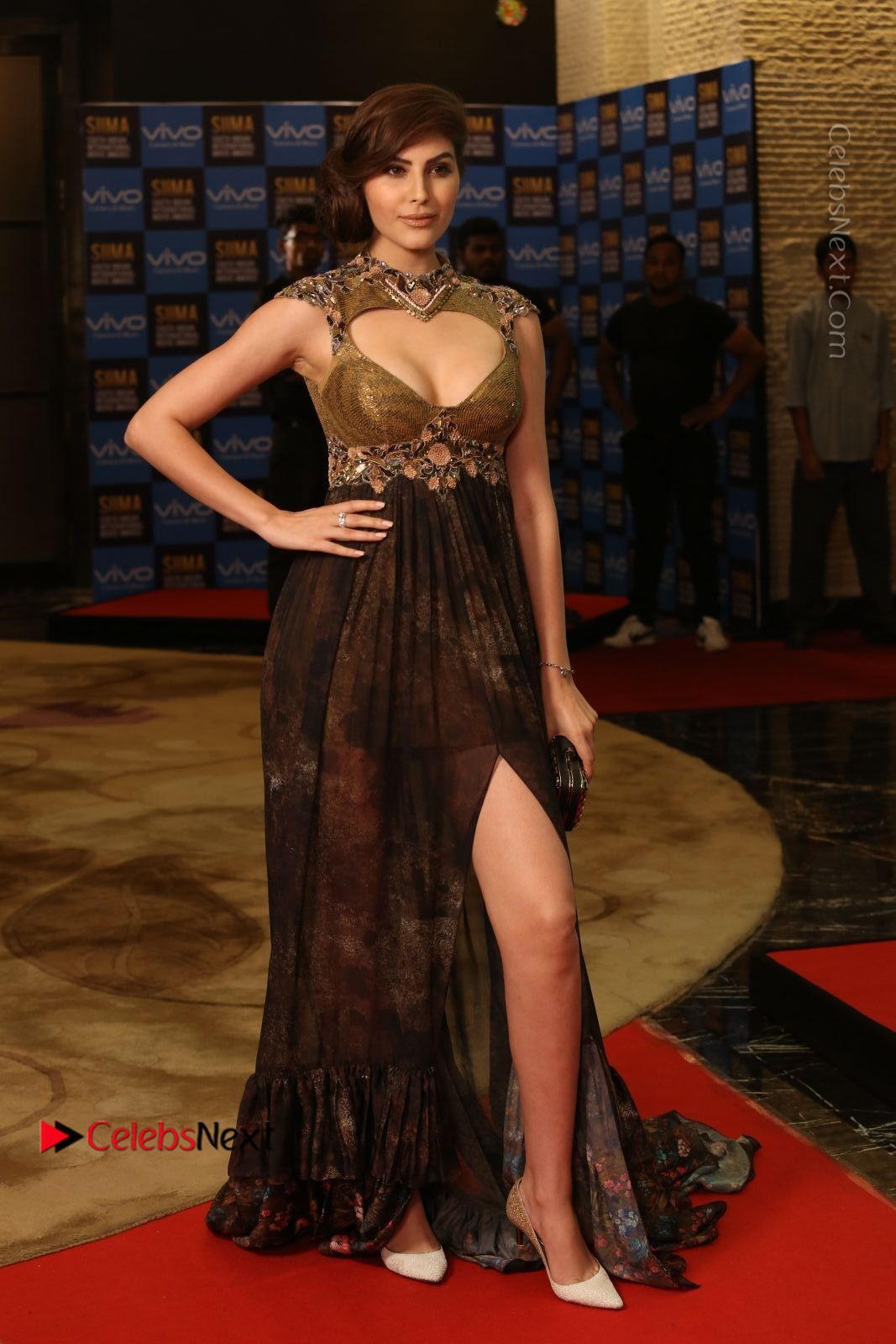 Naaz Norouzi Spicy Photos in Leg Spit Dress at SIIMA Short Film Awards 2017
