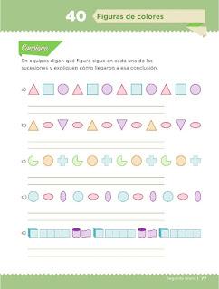 Apoyo Primaria Desafíos Matemáticos 2do Grado Bloque 2 Lección 40 Figuras de colores