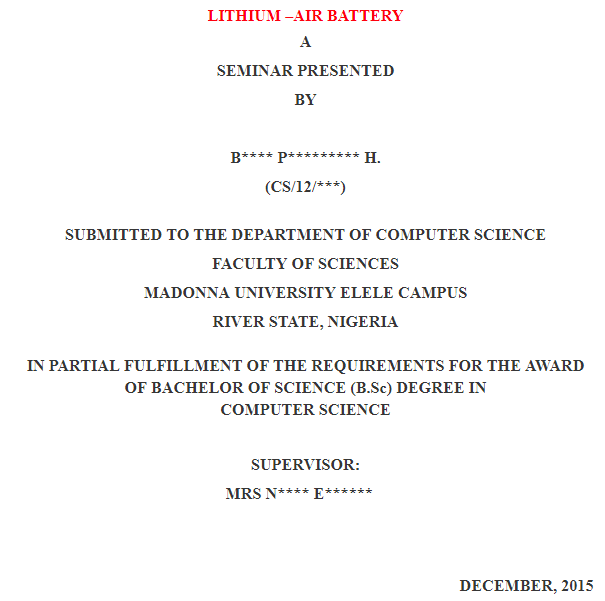 Free Seminar Report On Lithium – Air Battery.