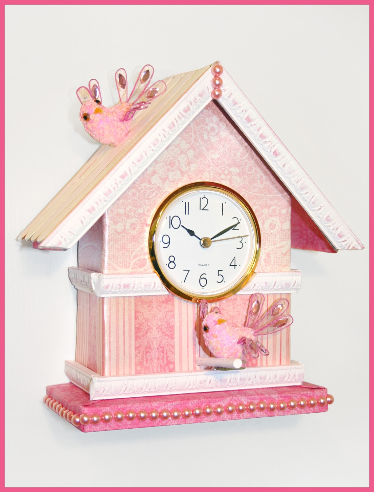 Birdhouse Clock Moms Eat Cold Food Shabby Chic Birdhouse Clock Tutorial