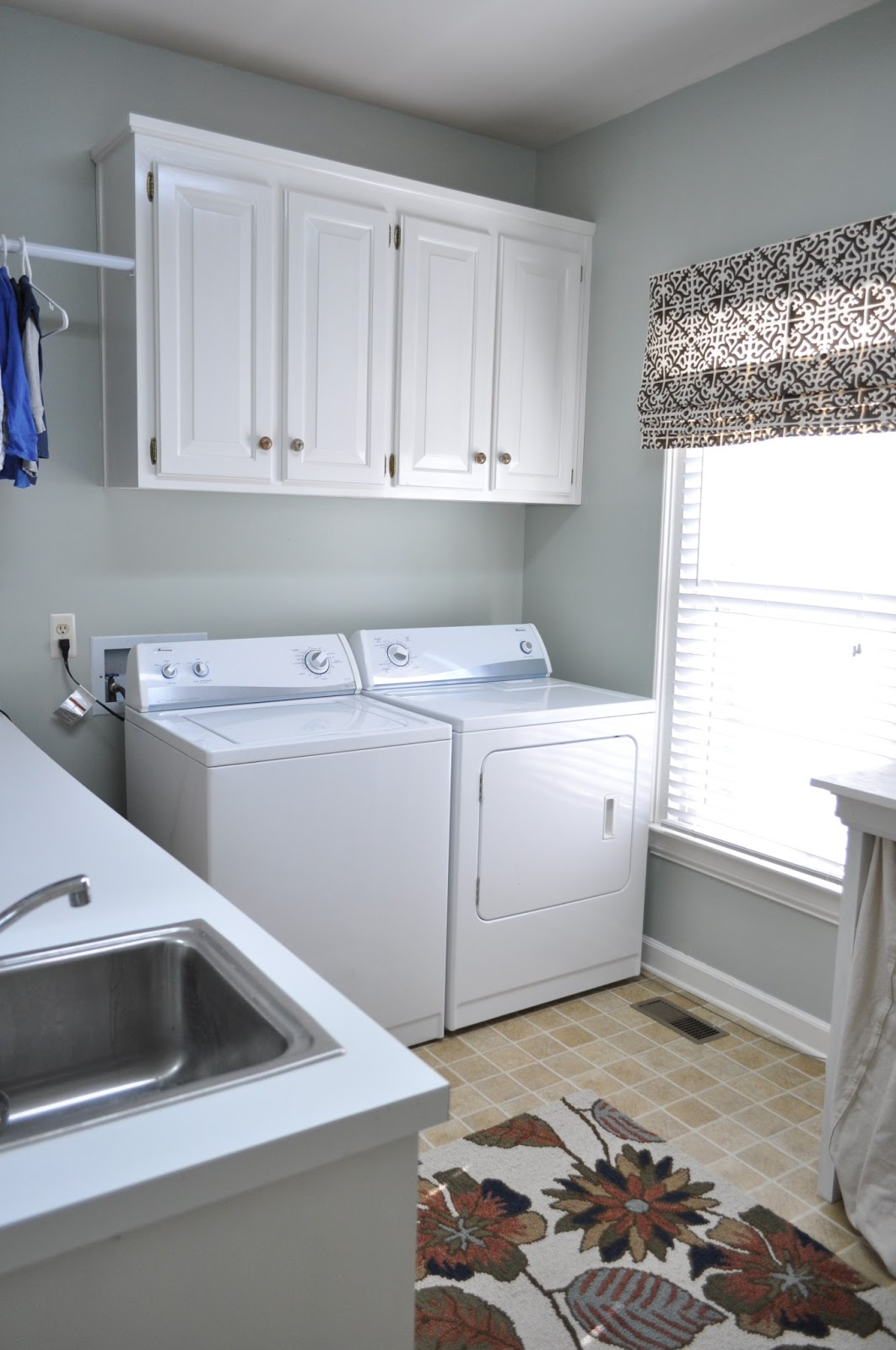 Following c 39 s laundry room redo before and after - Sherwin williams comfort gray living room ...