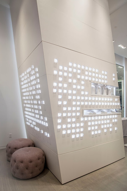 City Lighting Products installed this statement wall to display products at the PANDORA Jewelry at Westfield World Trade Center, New York City
