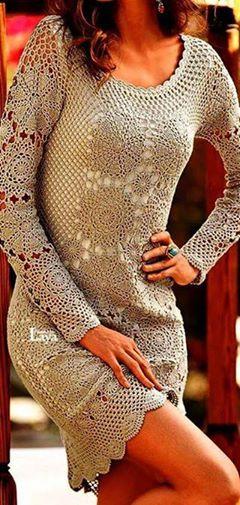 Patrón #1819: Vestido de Encaje a Crochet