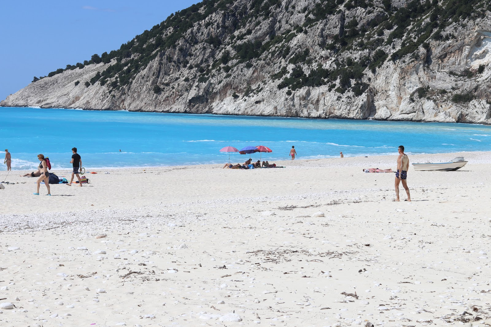 people walking on Myrtos Beach, White sand and turquoise waters