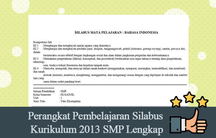 Perangkat Pembelajaran Silabus Kurikulum 2013 SMP Lengkap