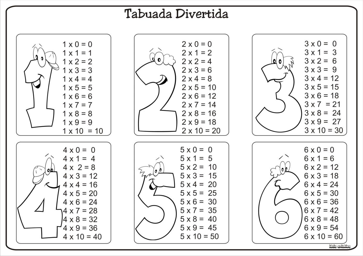 Tabuada Divertida Multiplicacao 1 A 9