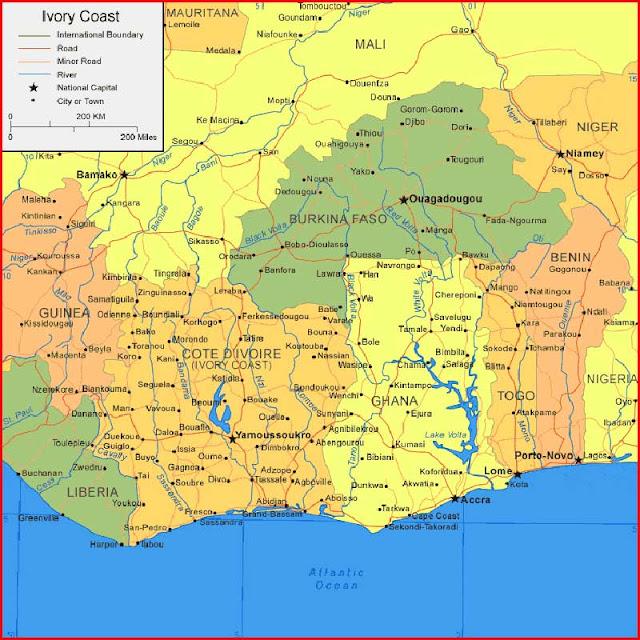 Gambar Peta Pantai Gading
