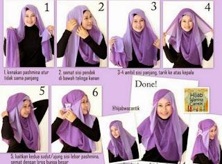 Tutorial hijab segi empat wajah bulat modis