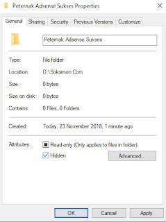 cara menyembunyikan file di laptop dengan fitur hidden