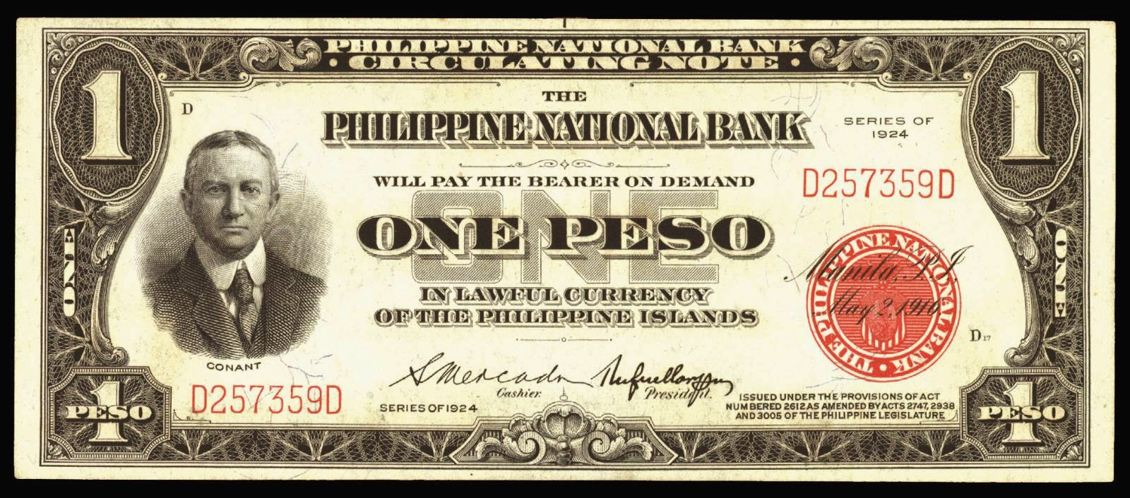 Philippines banknotes One Peso bill Circulating Note 1924 Conant