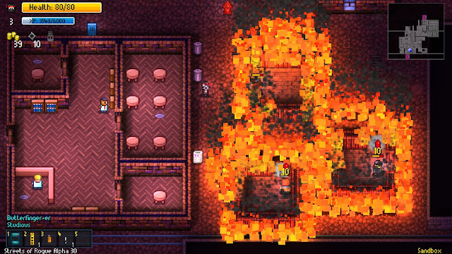 The world is on fire in Streets of Rogue, maybe a flamethrower or grenade