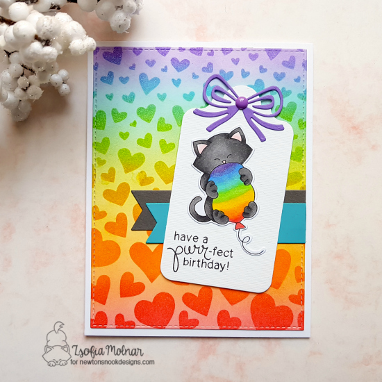 Have a purr-fect birthday by Zsofia features Tumbling Hearts, Frames & Flags, and Newton's Birthday Bash by Newton's Nook Designs; #newtonsnook