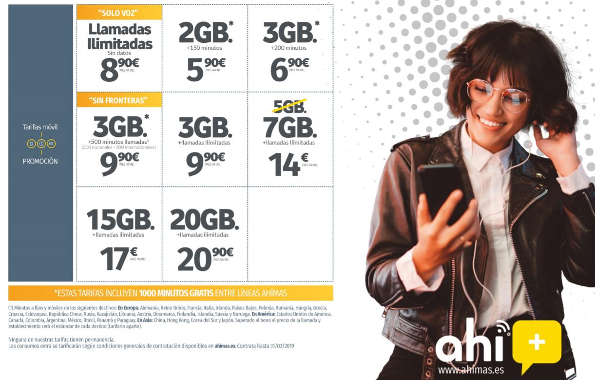 Actuales tarifas de Ahí+