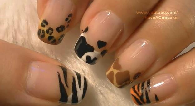 25 Diseños De Uñas De Animales Jirafa Vaca Leopardo Cebra ε