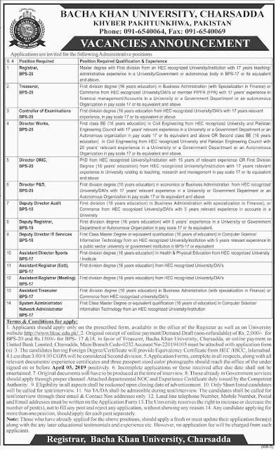 Bacha Khan University Charsadda Jobs 2019