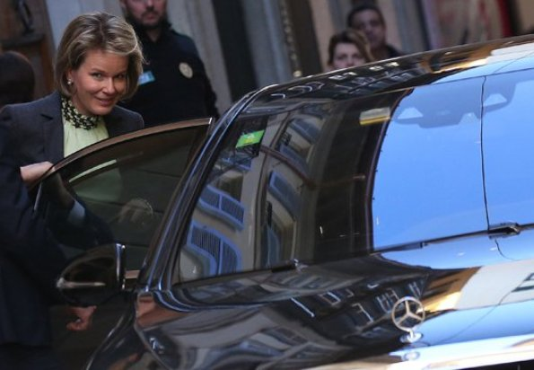 Queen Mathilde was seen during Armani store in Milan. Queen Mathilde will visit Denmark on a state visit from the 28th - 30th of March