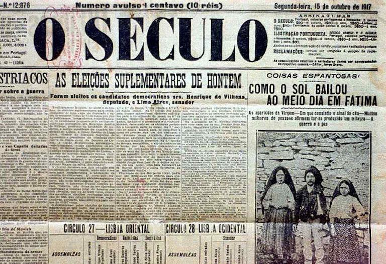 Jornal 'O Século', edição de 15 de outubro de 1917: 'Como o sol bailou ao meio dia em Fátima'