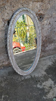 Specchio ovale shabby chic