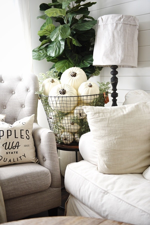 Pretty farmhouse style decor for fall with white pumpkins