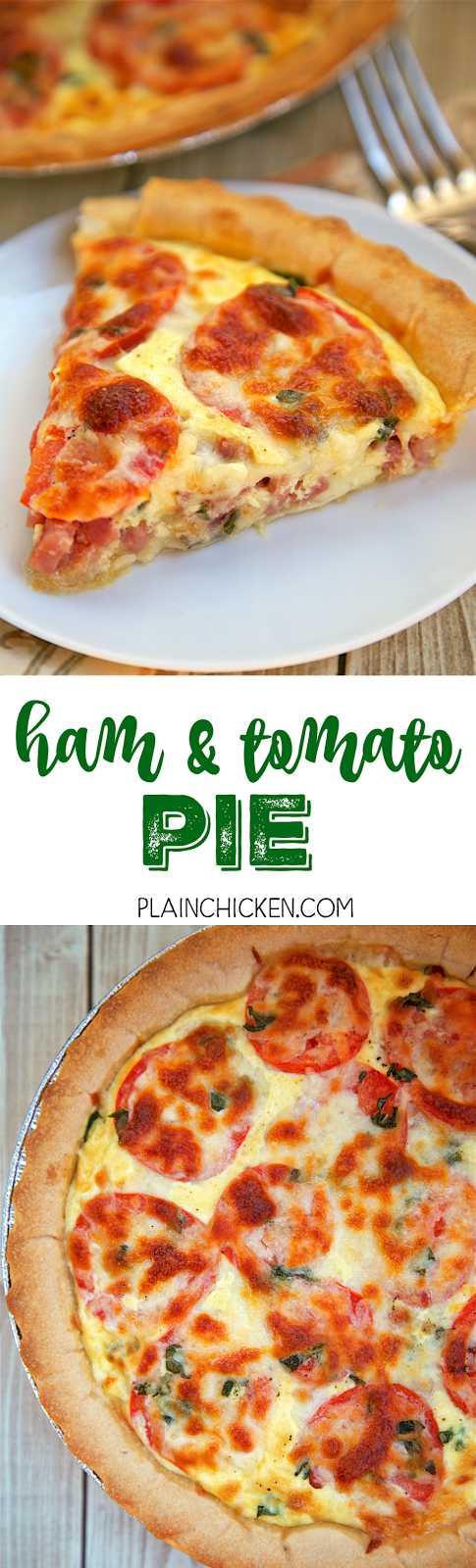 Ham and Tomato Pie - Spring and Summer on a plate! Ham, green onions, fresh basil, dijon, egg, half-and-half, mozzarella and fresh ripe tomatoes. There is never any left! Everyone asks for the recipe. SO simple and SOOO delicious!!