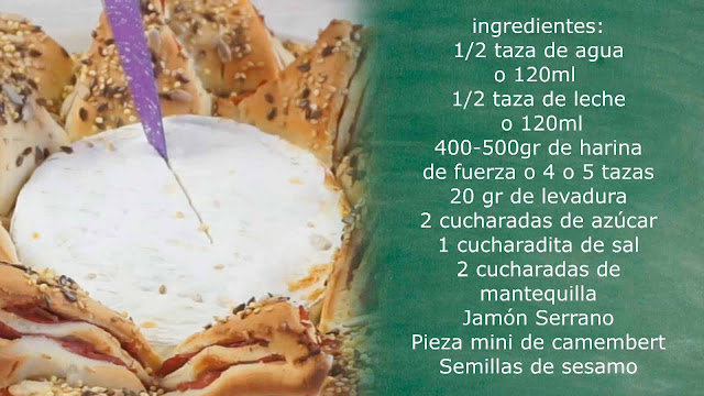 Ingredientes  estrella de jamón y camembert