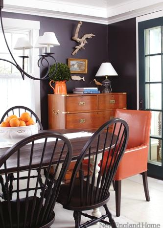orange decor accents in dining room