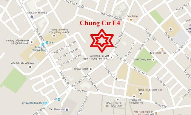 Vị trí đắc địa của chung cư E4 Tower Yên Hòa.