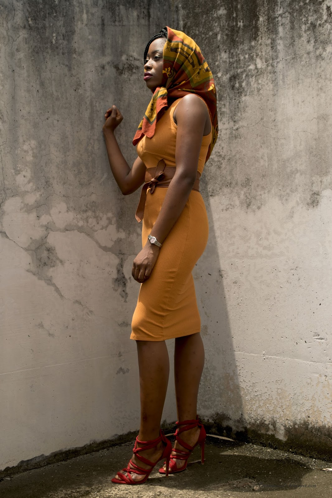 Mustard pencil dress,  body con dress, side slit,  Jersey dress,  colour blocking , vintage scarf