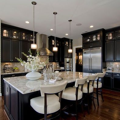 Black Kitchen Cabinets in traditional style :: OrganizingMadeFun.com
