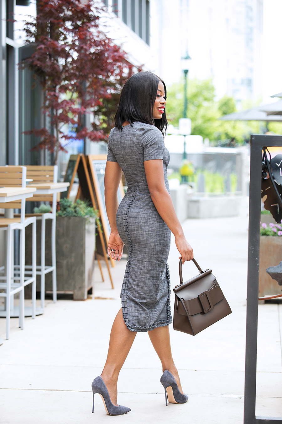 summer work chic, grey pencil dress, www.jadore-fashion.com