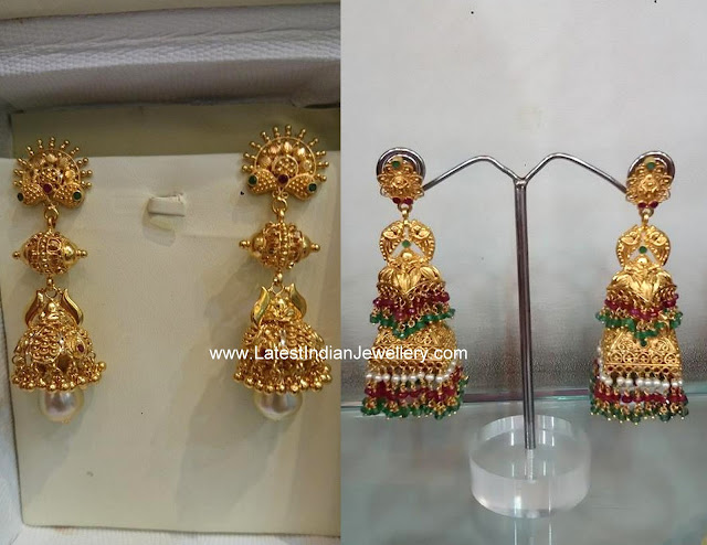 Long Step Gold Jhumkas
