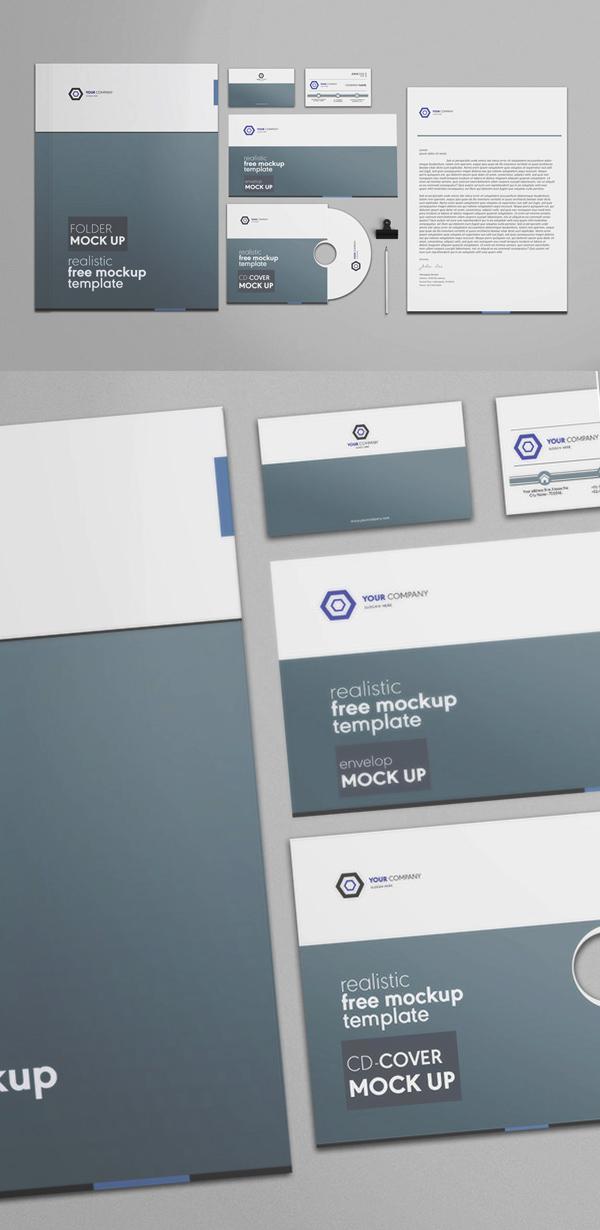 Mockup terbaru 2017 gratis - Free Corporate Stationery PSD Mockup Template