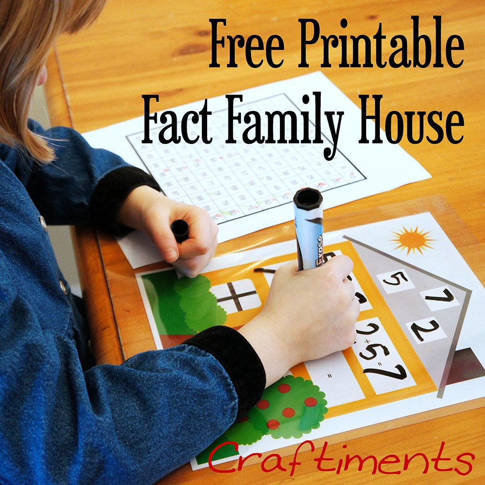 Craftiments: Free Printable Fact Family House Worksheet [ 1000 x 1000 Pixel ]