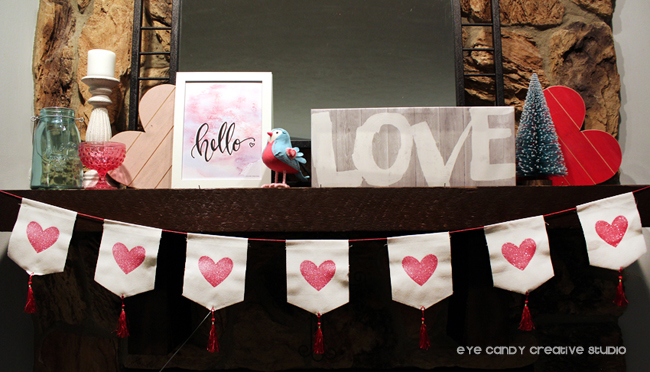 valentines banner, hello art print, freebie, LOVE, mantel decor, valentines