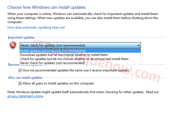 Turn off Automatic Updates on Windows 7_set never