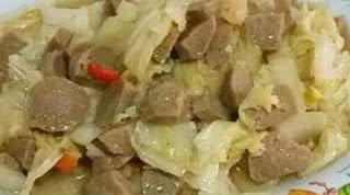 tumis sawi putih bakso pedas