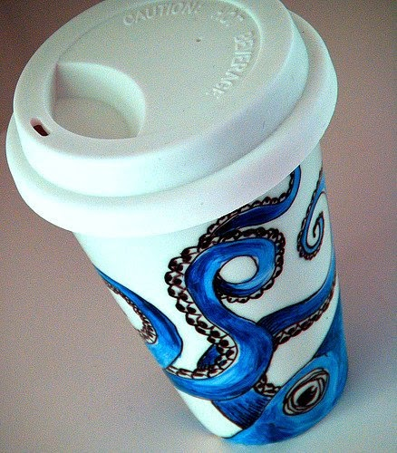 paper cup octopus everything octopus ceramic octopus travel mug 2622