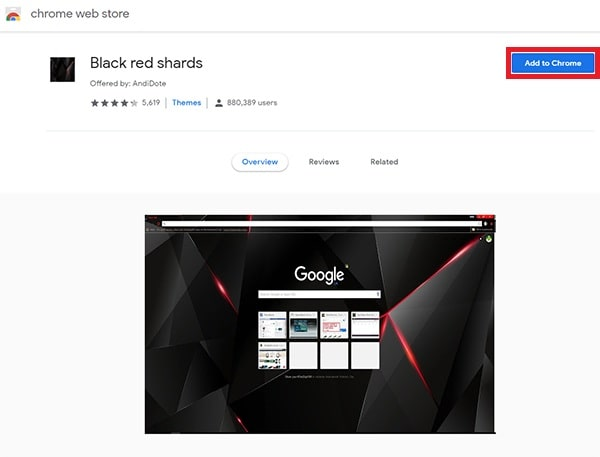 Google chrome Add to Chrome option click