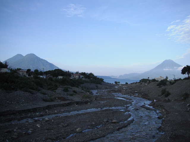 Lake Atitlan Guatemala volcanoes river morning