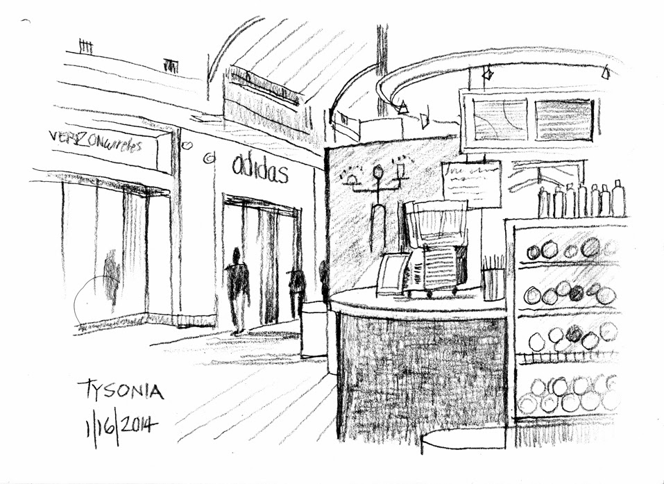 Art By-Products: Pencil Urban Mall Sketch