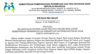 Resmi, Pendaftaran Rekruitmen CPNS Kementrian PPPA 2017