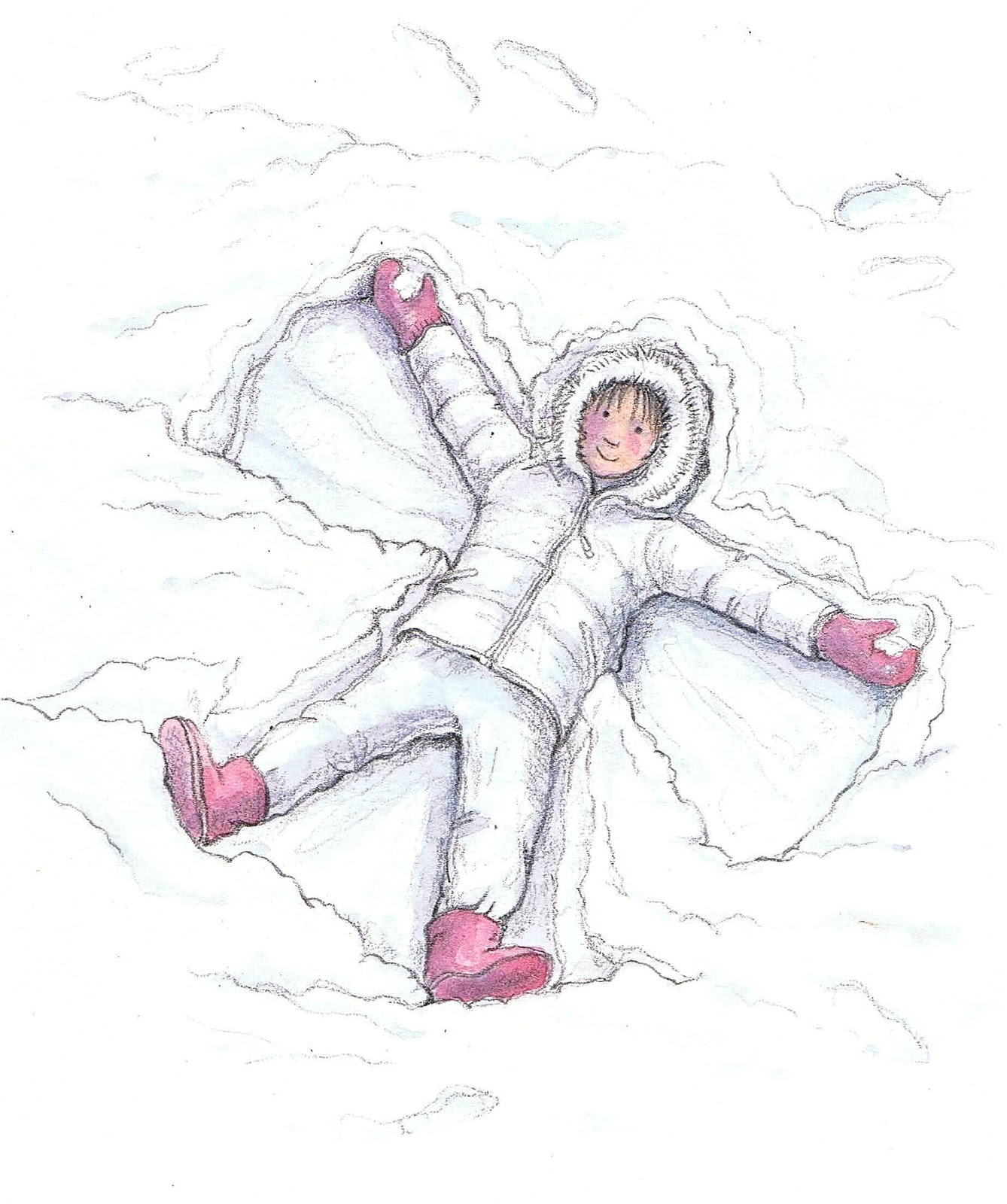 Just Pencil On Paper Snow Angel