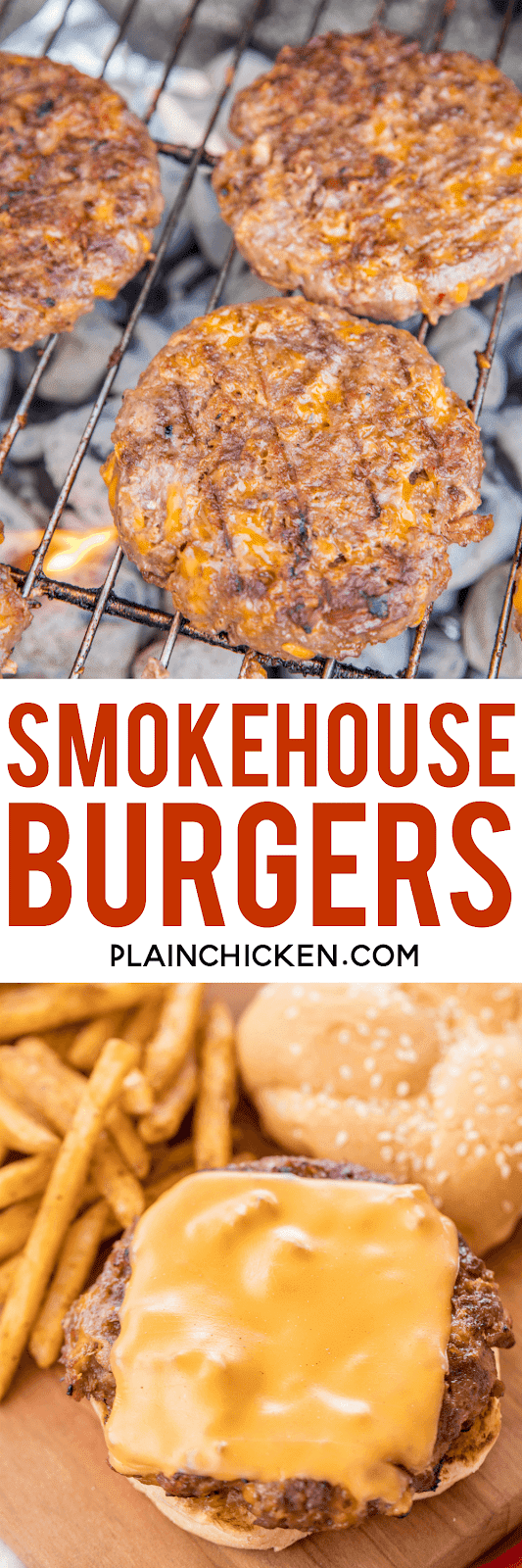 Smokehouse Burgers - THE BEST burgers EVER!! Ground beef and sausage loaded with cheddar cheese, bacon, ranch, bbq sauce and french fried onions. Perfection!!! Can make ahead of time and freeze for later. Made these for a cookout and everyone asked for the recipe! Our #1 burger recipe!! You need to make this ASAP! #grilling #burgers #beef